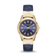 """LaBelle Stud Gold-Tone Three-Hand Watch The gold-tone KARL LAGERFELD LaBelle Stud features a navy sunray dial detailed with bold studs and a sleek navy """"K""""-kuilted leather strap for the ultimate everyday watch."""
