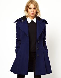 Image 1 of ASOS Skater Coat With Rib Collar