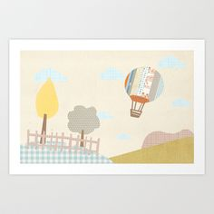 baloon collage Art Print by Flying Bathtub - $15.00