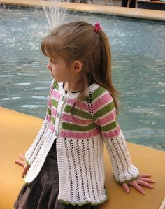 Free Pattern: Pink Orchard by Inna Aleksandrova Made for AZ GD in pink bubble gum and blue berry gumdrops. Baby Boy Knitting Patterns Free, Sweater Knitting Patterns, Knitting For Kids, Free Knitting, Knitting Projects, Baby Knitting, Crochet Patterns, Crochet Girls, Crochet For Kids