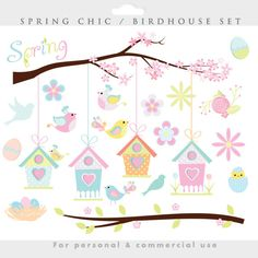 Spring clipart  bird birdhouse clip art by WinchesterLambourne, $4.50