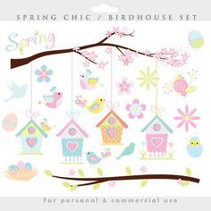 Spring clipart  bird birdhouse clip art by WinchesterLambourne, $4.50