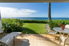 Beachfront 1 bedroom with an amazing ocean views on stunning Kiahuna Beach. Ground floor, just steps to the water. Kauai Condo Rentals, Poipu Beach, Athletic Clubs, Condos, Portfolio Design, Ground Floor, Sun Lounger, Hawaii