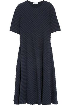 Jil Sander - Stretch Cotton And Seersucker Midi Dress - Navy - FR44
