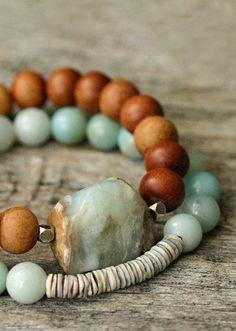 Blue Shell Stacking Bracelet / Amazonite Grey Shell