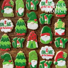 Christmas Sugar Cookies Tree Cookies, Christmas Sugar Cookies, Cookie Decorating, Gnomes, Biscuits, Holiday, Party, Desserts, Food