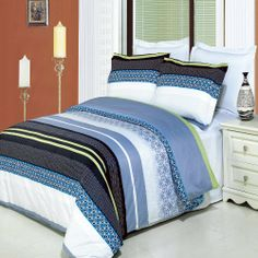 With Love Home Decor - Jasmine Printed Multi-Piece Duvet Set, Enjoy the comfort and Softness of Egyptian cotton bedding with 300 Thread count fiber reactive prints. Bed Comforter Sets, Cotton Bedding Sets, Comforter Cover, Bed Duvet Covers, Duvet Cover Sets, Comforters, Pillow Shams, Cotton Duvet, Bedspreads