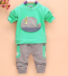 2Pcs Outfits Kids Baby Boys Clothes Long Sleeve Whale Tops+Long Pants Clothing Sets 1-4Y 4 Colors #>=#>=#>=#>=#> Click on the pin to check out discount price, color, size, shipping, etc. Save and like it!