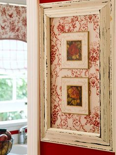 Take an old picture frame, adhere fabric for the background, frame 2 small pictures & attach to the fabric back for a wonderful designer look.
