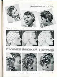 Vintage Hairstyles Tutorial Pin curl sections and pivot points create different effects Vintage Hairstyles Tutorial, 1940s Hairstyles, Cool Hairstyles, Wedding Hairstyles, Brunette Hairstyles, Hairstyles Videos, Formal Hairstyles, Historical Hairstyles, Short Hair Styles
