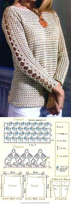 Blusa de croche com mangas compridas
