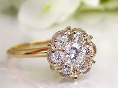 Vintage Engagement Ring 0.62ctw Daisy Diamond Cluster Ring Raised Setting Floral Diamond Wedding Ring 14K TwoTone Gold Size 8!