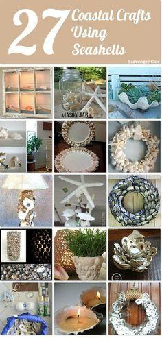 27 coastal crafts using seashells to create a one-of-a-kind coastal decor in your home.  http://www.hometalk.com/l/se1