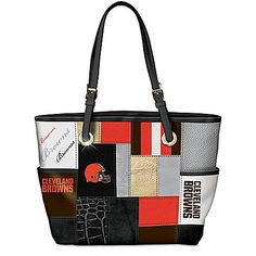 For The Love Of The Game NFL Cleveland Browns Patchwork Tote Bag