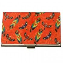 Tropical birds & Feathers Red Steel Card Holder by The Elephant Company
