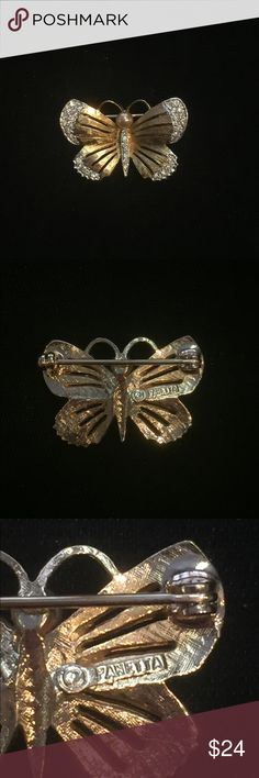 Panetta gold butterfly pin with rhinestones Panetta gold butterfly pin with rhinestones Panetta Accessories