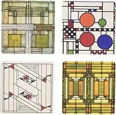 CoasterStone AS8810 Absorbent Coasters Set of 4 Frank Lloyd Wright Tree of Life 4-1//4-Inch,Frank Lloyd Wright Tree of Life