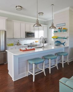 beach house kitchen with turquoise accents