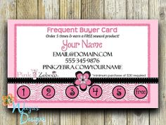 Pink Zebra Frequent Buyer Card Business Card by WeeziesDesigns, $8.00