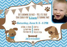 Puppy Dog Birthday Party Invitation Chevron Printable - Puppy Chevron - Boy Invitation - Blue Brown - Chevron Pawprints - Photo Card