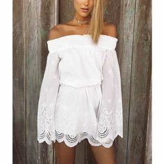 Chiffon   Polyester One-piece Dress hollow Solid white - YYW