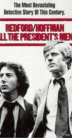 "Directed by Alan J. With Dustin Hoffman, Robert Redford, Jack Warden, Martin Balsam. ""The Washington Post"" reporters Bob Woodward and Carl Bernstein uncover the details of the Watergate scandal that leads to President Richard Nixon's resignation. Dustin Hoffman, 1976 Movies, Man Movies, Good Movies, Watch Movies, Robert Redford, Films Cinema, Cinema Tv, Beau Film"
