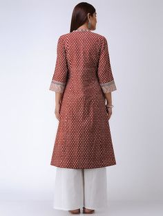 Red Bagh Printed Paneled Cotton Kurta Kurta With Pants, Dress Patterns, Kurti, Dressing, High Neck Dress, Costumes, Clothes For Women, Printed, Red