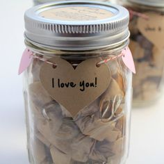 "This jar is giving me so many ideas for v-day! On the heart I'll write ""How do I love thee? Let me count the ways..."" then inside will be all the reasons why i love him folded up on individual pieces of paper. We're going for DIY this year so this would be a perfect addition!"
