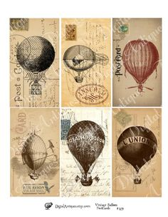 Vintage Balloon Postcard Tags Digital Download by DigitalAntiques