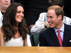 Tennis, anyone? The Duke and Duchess of Cambridge, William and Catherine, share a laugh as they watch a Wimbeldon match in London on June 27, 2011.
