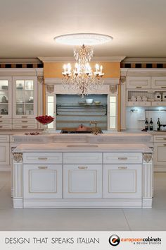 This white and gold kitchen projects the elegance of Old Italy.