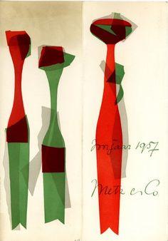 Wat een puur #ontwerp: Programmaboekje van modeshow voorjaar 1957 Metz & Co - NAGO #grafischontwerp