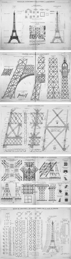 Blueprints for the Eiffel Tower: named after the engineer Gustave Eiffel, whose company designed and built the tower. Erected in 1889 as the entrance arch to the 1889 World's Fair, it has become both a global cultural icon of France and one of the most re