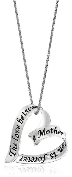 Sterling Silver Ribbon Heart The Love Between A Mother and Son Is Forever Pendant Necklace -- You can get more details by clicking on the image.