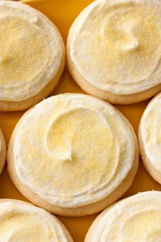 Lemon Sugar Cookie recipe - melt in your mouth delicious! Soft, fluffy and full of lemon flavor. I'm a sucker for a good sugar cookie! Tea Cakes, Lemon Recipes, Sweet Recipes, Yummy Recipes, Recipies, Cookies Decorados, Cookie Recipes, Dessert Recipes, Dinner Recipes