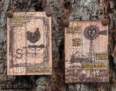 Our July 2015 DT Blog Hop was themed for our Country Life style stamp sets--I created these altered ATCs using stamps from our Home and The Outpost stamp sets.