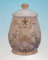 Ivory Seashell Starfish Cookie Jar Kitchen Canister Beach By Young At