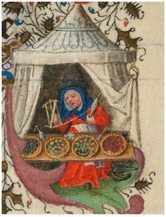 Medieval Multi-tasking: she's minding her market stall and winding yarn from her spindle onto a niddy-noddy. Morgan Library The Hours of Catherine of Cleves www.themorgan.org...