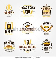 Large set of bakery and bread shop logos, labels, badges and design elements…