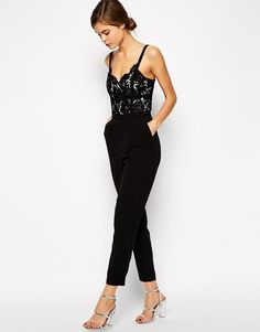 Warehouse   Warehouse Lace Bodice Jumpsuit at ASOS