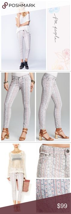 "FP Geo Stripe Skinny Jeans Free People Rotary Geo Stripe Print Ankle Skinny Jeans. New. Size 29. 30"" inseam. Rare. 🔶Please send reasonable offers through the offer button!🔶 Free People Jeans Skinny"