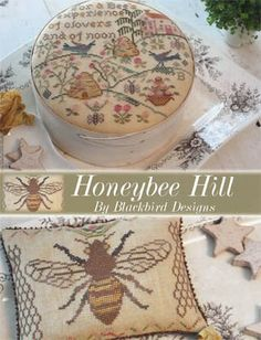 """Honeybee Hill"" is the title of this cross stitch pattern from Blackbird Designs that is stitched with DMC or Gentle Art Sampler threads (Br..."