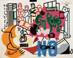 "Stuart Davis (American, 1892-1964), ""American Painting,"" 1932-51, oil on canvas, 40 x 50¼ in., 101.6 x 127.64 cm, Joslyn Art Museum, Lent by the University of Nebraska at Omaha, L-1974.71; Art © Estate of Stuart Davis/Licensed by VAGA, New York, NY"