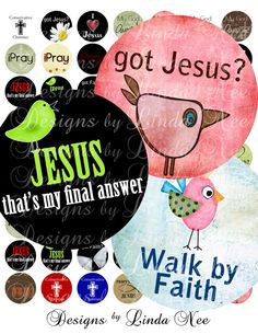 CHRISTian Quotes and Sayings- (1 Inch round) Digital Collage Sheet BUY -2 Get 1 SALE stickers magnet printable via Etsy