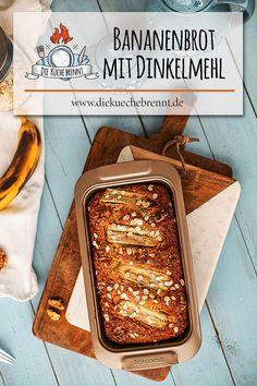 Saftiges Bananenbrot Rezept mit Dinkelmehl und Walnüssen Baked Goods, Dairy Free, Bakery, Recipies, Food Porn, Sweets, Diet, Low Carb, Snacks
