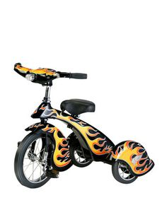 Retro Style Black Hot Rod Steel Tricycle-This flaming hot retro trike is all about attitude. A classic trike design that makes its own statement with detail flames and black color. It's built with sturdy all-steel construction, has battery operated L Hot Rods, Pedal Cars, Rubber Tires, Bike Accessories, Joss And Main, Look Cool, Black N Yellow, Retro Fashion, Kids Fashion