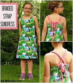 Amanda from Kitschy Coo shares a free pattern for this girl's convertible braided strap sundress.  It's an  A-line knit dress with two long braided straps that thread through loops at t…