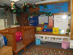 Magic Tree House classroom reading corner.  What student wouldn't want to hop into this tree house and read? MOTIVATOR!