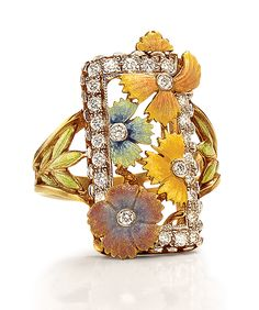 Masriera 18-karat yellow gold with enameled flowers and leaves, with round brilliant-cut diamond accents. Gorgeous enamel ring found at cellini jewelers.