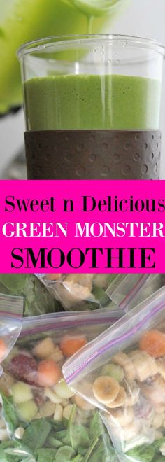 A SWEET, creamy and delicious green monster smoothie recipe!